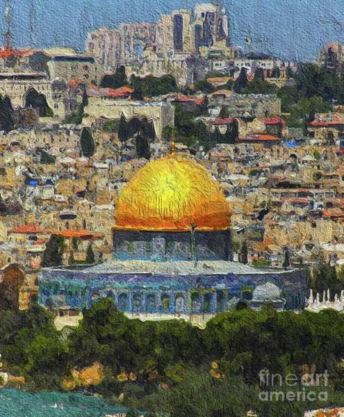 Wall Art - Painting - Dome Of The Rock, Jerusalem, Israel by Mary Bassett