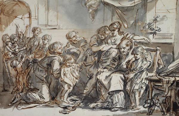 Jeans Drawing - Domestic Scene by Jean-Baptiste Greuze