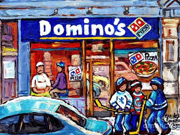 Painting - Domino's Pizza Montreal Storefront And Restaurant Painting Winter Hockey Scene Carole Spandau Art    by Carole Spandau