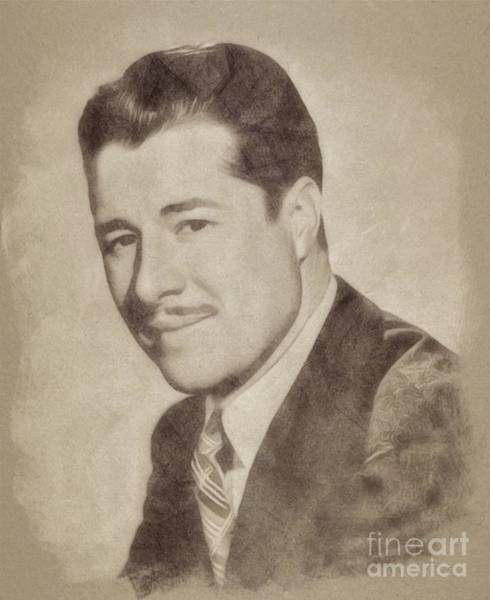 Pinewood Drawing - Don Ameche, Vintage Actor By John Springfield by John Springfield