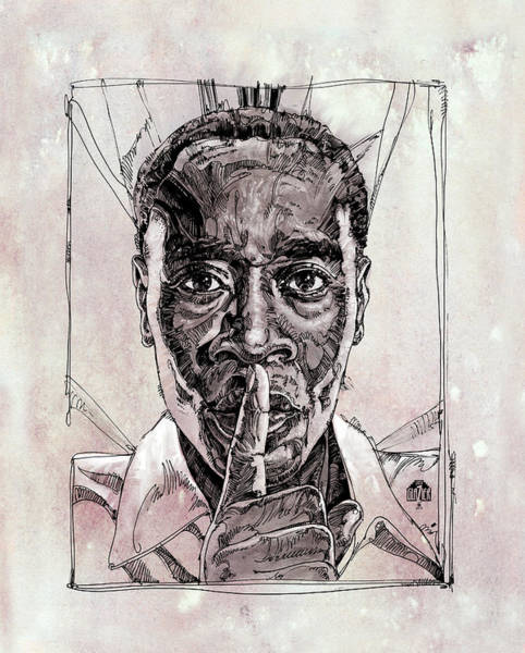 Inking Wall Art - Drawing - Don Cheadle Inking And Painting by Garth Glazier