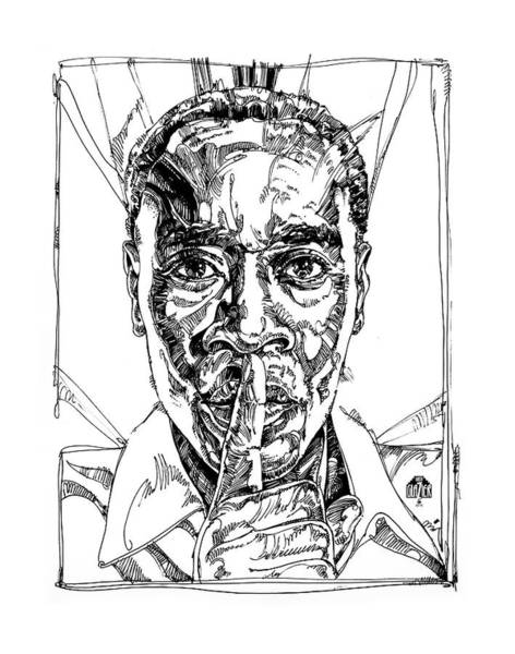Inking Wall Art - Drawing - Don Cheadle Inking by Garth Glazier