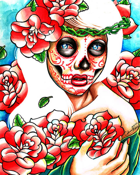 Tattoo Flash Painting - Don' Hold Your Breath Day Of The Dead Inspired by Carissa Rose Stevens