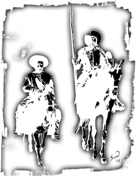 Blanco Y Negro Wall Art - Painting - Don Quijote De La Mancha by Yiries Saad