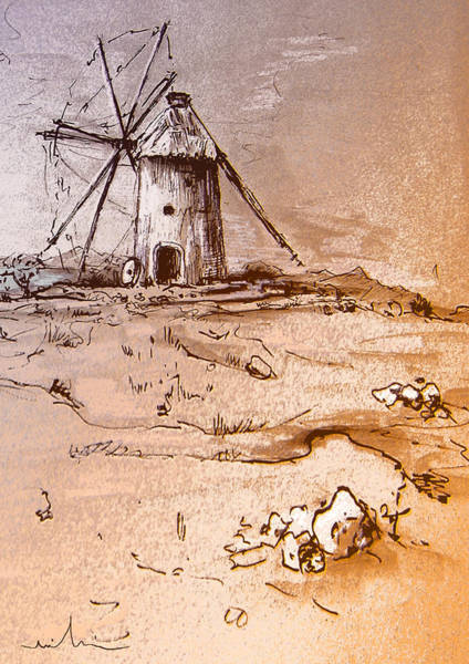 Painting - Don Quijote Windmills 06 by Miki De Goodaboom
