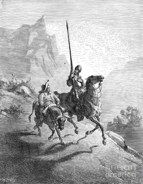 Drawing - Don Quixote And Sancho by Gustave Dore