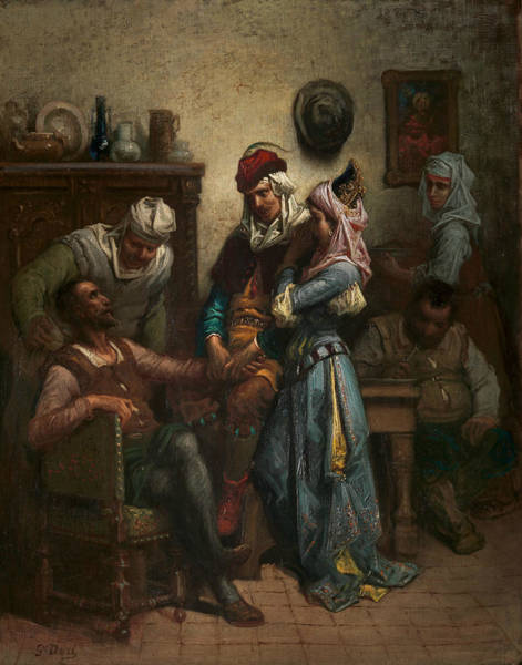Painting - Don Quixote And Sancho Panza Entertained By Basil And Quiteria by Gustave Dore