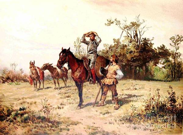 0 Painting - Don Quixote And Sancho Panza by Reproduction
