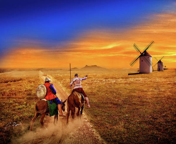 Digital Art - Don Quixote And The Windmills by Charlie Roman