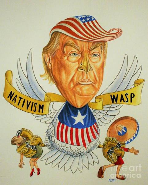 Trump Cartoon Painting - Donald Tump by Eric De clercq