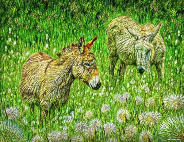 Digital Art - Donkeys Of The Dandelions by Joel Bruce Wallach