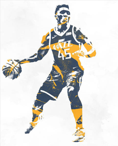 Wall Art - Mixed Media - Donovan Mitchell Utah Jazz Pixel Art 10 by Joe Hamilton