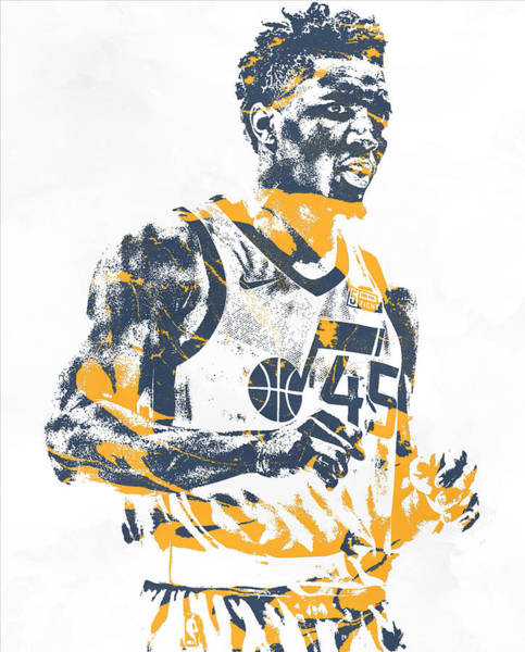 Wall Art - Mixed Media - Donovan Mitchell Utah Jazz Pixel Art 11 by Joe Hamilton