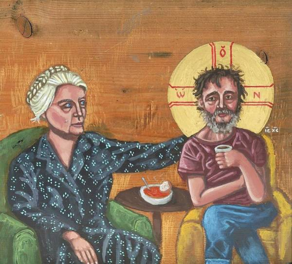Painting - Don't Call Me A Saint- Dorothy Day With Homeless Christ by Kelly Latimore