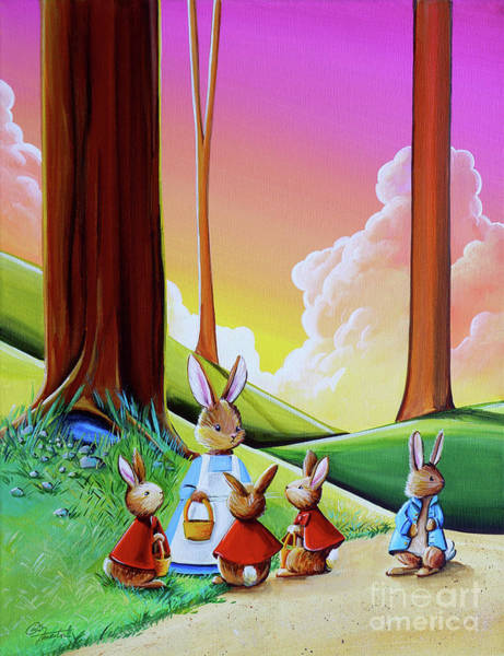 Rabbit Painting - Don't Go Into Mr Mcgregors Garden by Cindy Thornton