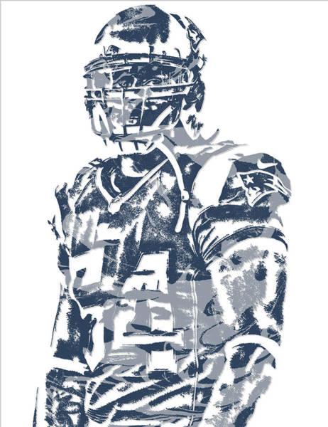 Wall Art - Mixed Media - Donta Hightower New England Patriots Pixel Art 1 by Joe Hamilton