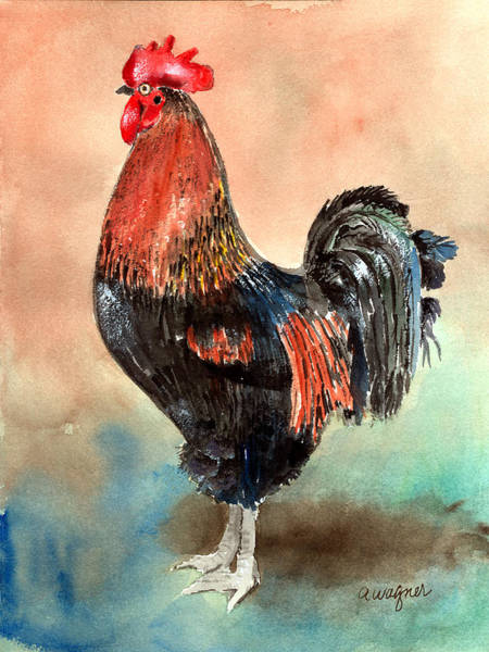 Roosters Painting - Doodle by Arline Wagner