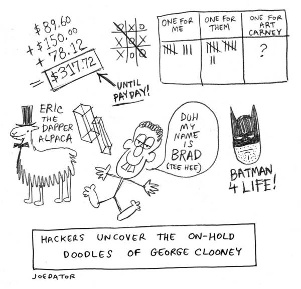 Cod Drawing - Doodles Of George Clooney by Joe Dator