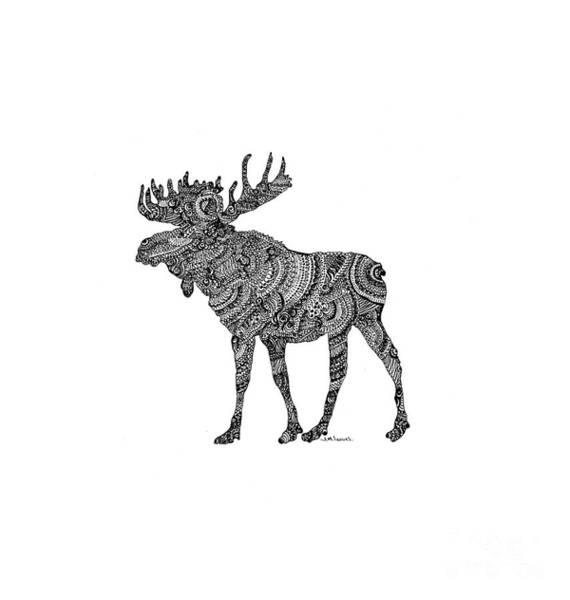 Elk Mountain Drawing -  Doodling Moose by J M Lucas