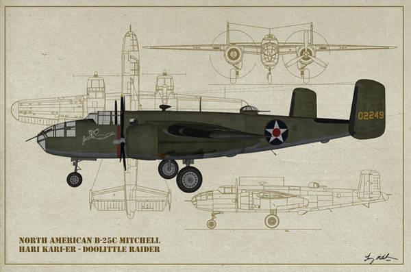 Uss Hornet Digital Art - Doolittle Raiders - Hari Kari-er Profile  by Tommy Anderson