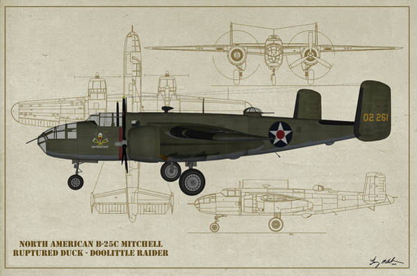 Uss Hornet Digital Art - Doolittle Raiders - Ruptured Duck Profile by Tommy Anderson
