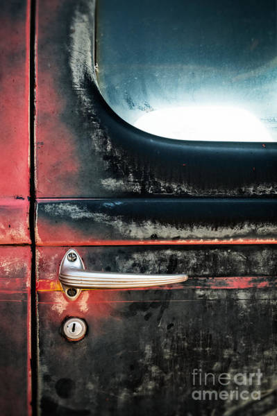 Photograph - Door Handle On Weathered Antique Truck by Bryan Mullennix