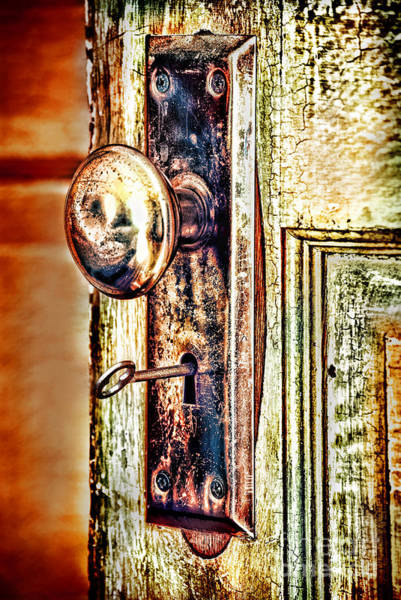 Doorknob Photograph - Door Knob With Key by HD Connelly