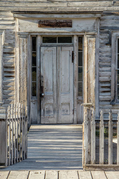 Bannack Wall Art - Photograph - Door Of The Old Bannack Schoolhouse And Masonic Temple by Teresa Wilson
