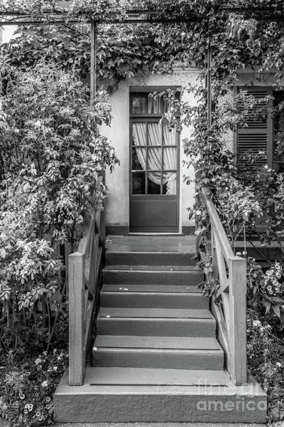 Wall Art - Photograph - Door To Claude Monet's Home, Giverny, Blk Wht 2 by Liesl Walsh