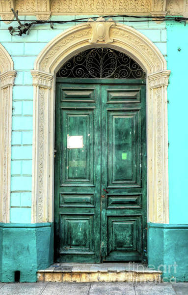 Photograph - Doors Of Cuba Green Door by Wayne Moran