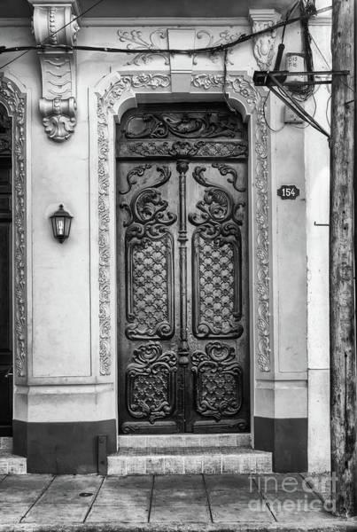 Photograph - Doors Of Cuba Yellow Door Bw by Wayne Moran