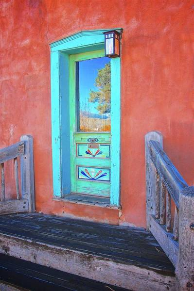 Photograph - Doorway Reflection, Santa Fe, New Mexico by Flying Z Photography by Zayne Diamond