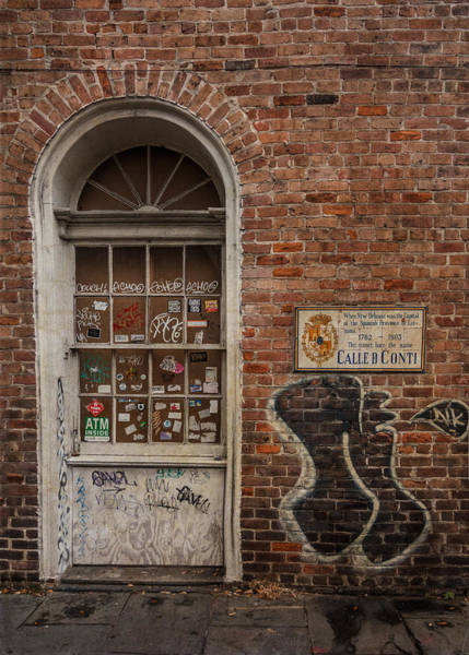 Photograph - Doorway - Stickers, Graffiti And Brick by Patti Deters