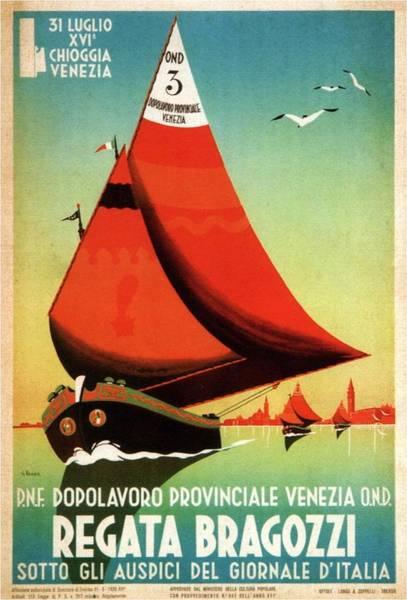 Sailboat Mixed Media - Dopolavord Provinciale - Regata Bragozzi, Venezia, Italy - Retro Travel Poster - Vintage Poster by Studio Grafiikka