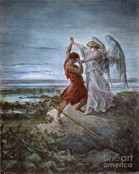 Drawing - Jacob And The Angel by Gustave Dore