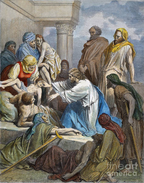 Wall Art - Drawing - Jesus Healing The Sick by Gustave Dore