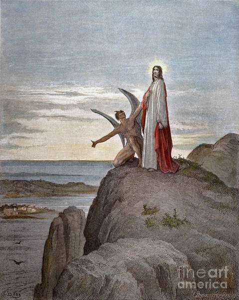 Wall Art - Drawing - Temptation Of Jesus by Gustave Dore
