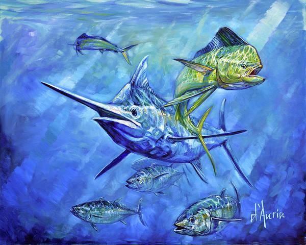 White Marlin Wall Art - Painting - Dorado, Marlin And Tuna by Tom Dauria