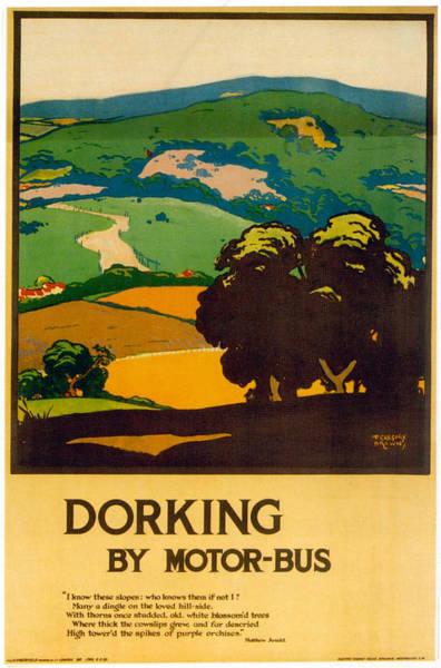 Motor Mixed Media - Dorking By Motor-bus - London Underground - Retro Travel Poster - Vintage Poster by Studio Grafiikka