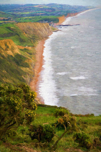West Bay Digital Art - Dorset Coast View Towards West Bay And Chesil Beach England Uk Illustration Like Oil Painting by Michael Charles