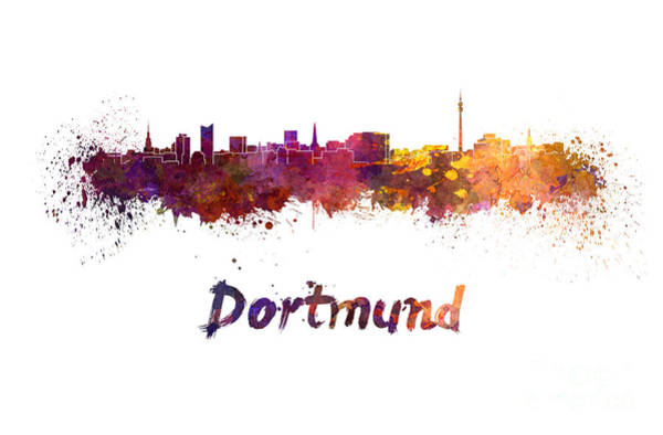 Wall Art - Painting - Dortmund Skyline In Watercolor by Pablo Romero
