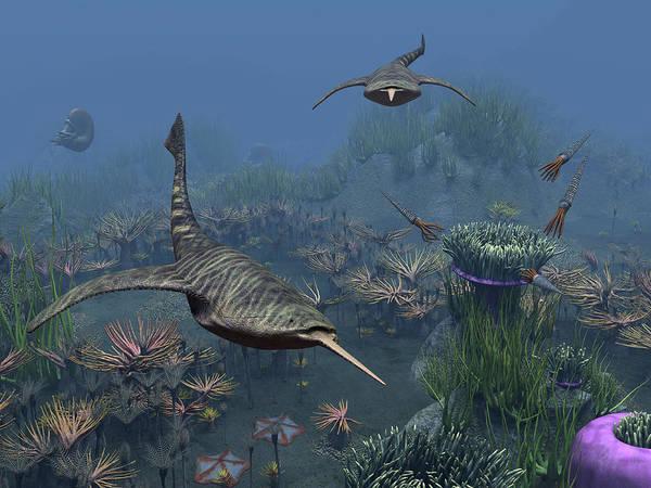 Paleobotany Digital Art - Doryaspis Swim Amongst A Bed by Walter Myers