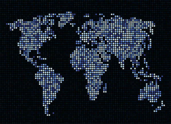 Atlas Digital Art - Dot Map Of The World - Blue by Michael Tompsett