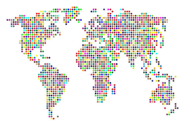 Atlas Digital Art - Dot Map Of The World - Colour On White by Michael Tompsett