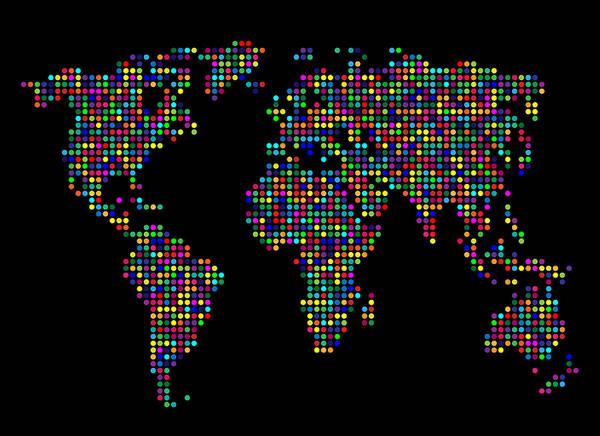 Mapping Digital Art - Dot Map Of The World - Multi Colours by Michael Tompsett