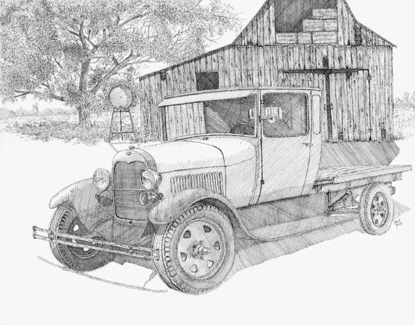 Old Truck Drawing - Double A Farm by David King