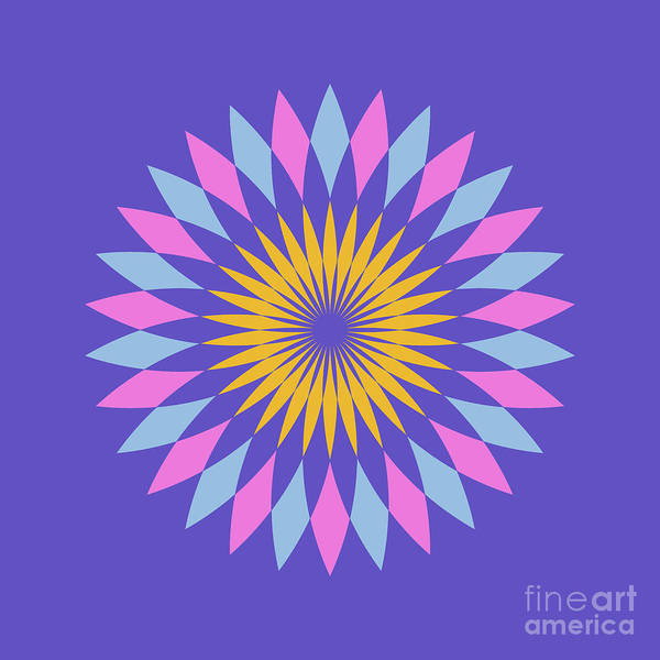 Cyan Digital Art - Double Abstract Purple Square by Drawspots Illustrations