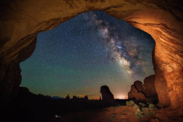 Photograph - Double Arch Milky Way Views by Darren White