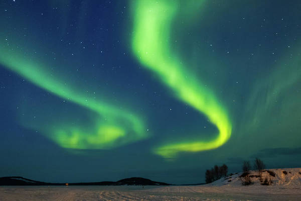 Photograph - Double Aurora Above Frozen Lake Inari Finland by Adam Rainoff