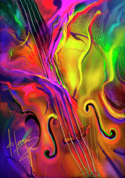 Sax Painting - Double Bass Solo by DC Langer